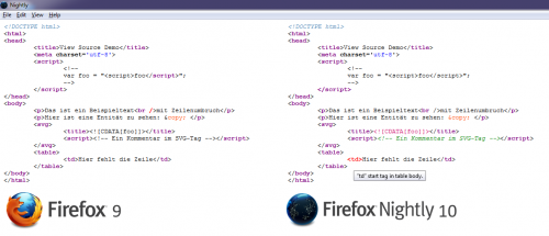 Firefox Quelltextansicht