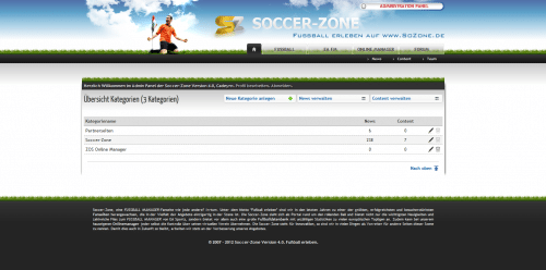 Soccer-Zone 4.0 Administration
