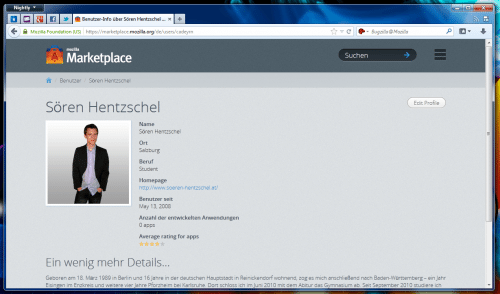 Mozilla Marketplace Benutzerprofil