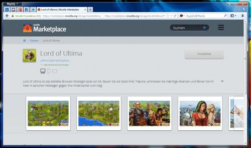 Mozilla Marketplace Detailansicht installiert