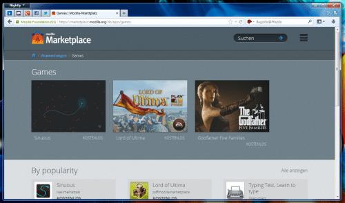 Mozilla Marketplace Kategorieansicht