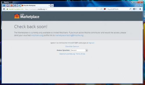 Mozilla Marketplace Keine Berechtigung