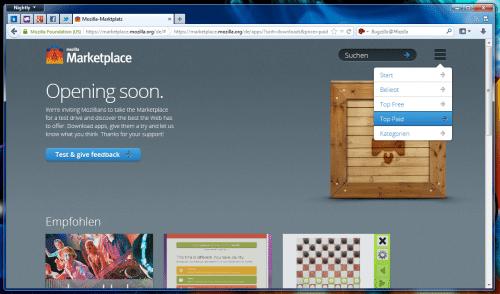 Mozilla Marketplace Startseite angemeldet