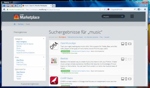 Mozilla Marketplace Suche