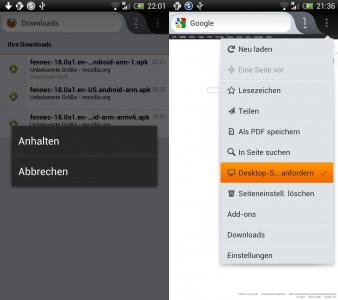 Firefox Mobile Downloads und Desktop-Seite