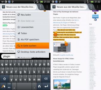 Firefox Mobie Suche und Kopieren