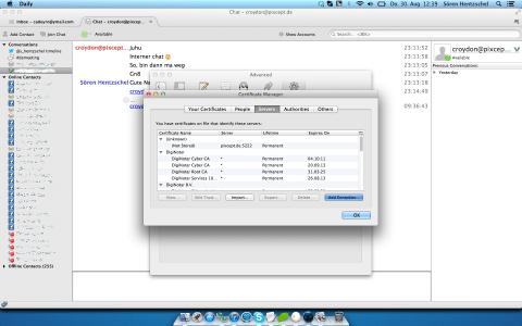 Thunderbird Instant Messaging Zertifikate