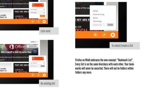 Firefox Metro Lesezeichen-Liste
