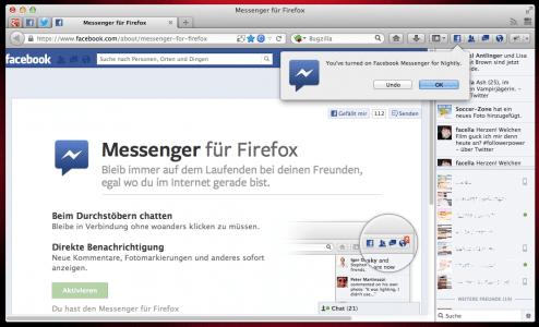 Firefox SocialAPI Facebook-Aktivierung