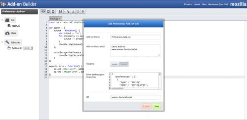 Add-on SDK Einstellungen Add-on Builder
