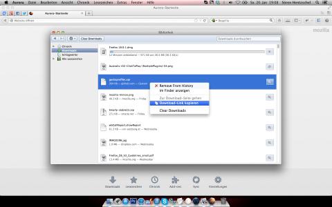 Firefox 20 Bibliothek Downloads