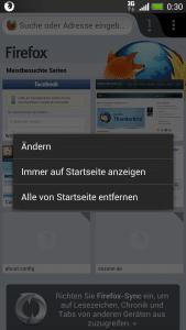 Firefox Mobile Startseite