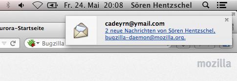 Thunderbird 22 Beta Mail-Benachrichtigung