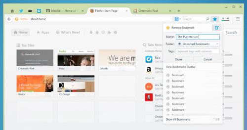 Australis Chrome Vergleich: Lesezeichen Firefox