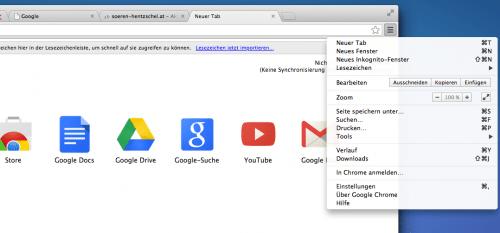 Australis Chrome Vergleich: Menü Chrome