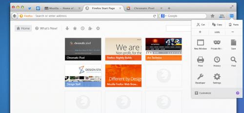 Australis Chrome Vergleich: Menü Firefox