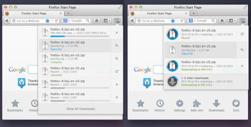 Firefox Neues Downloads-Panel-Design