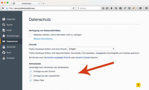 Firefox Adressleiste Vorschläge