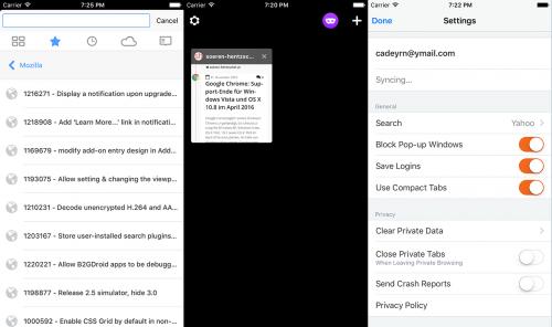Firefox 1.1 für iOS