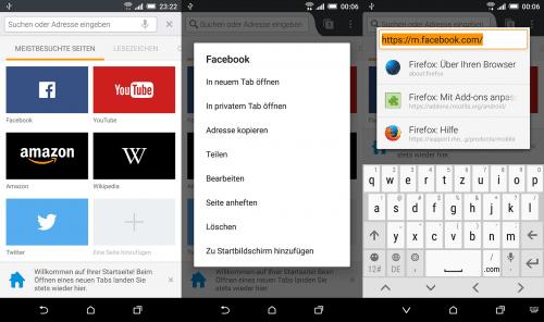 Firefox 46 für Android Kacheln