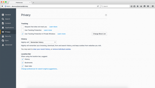 Firefox 46 Tracking-Schutz
