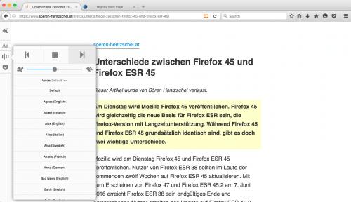 Firefox 47: Artikel vorlesen