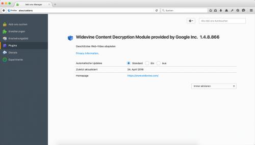 Firefox 47 Google Widevine