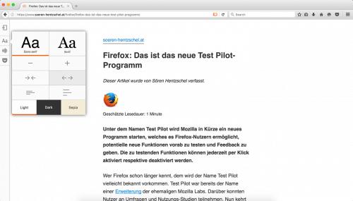Firefox 49 Lese-Ansicht