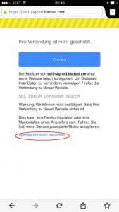Firefox 4.0 für iOS: Zertifikatsfehler ignorieren