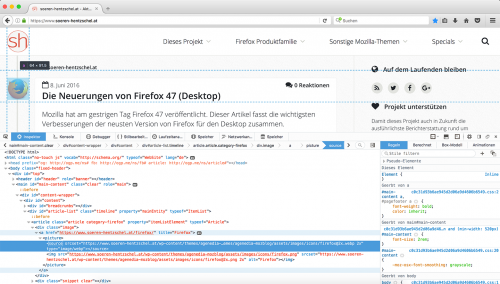 Firefox 47 Entwickler-Werkzeuge Theme