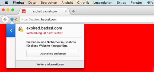 Firefox 47 HTTPS-Ausnahme