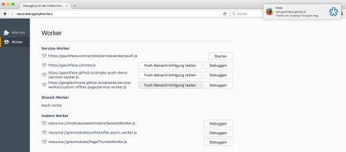 Firefox 47 Push-Simulation