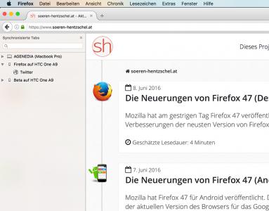 Firefox 47 Synchronisierte Tabs
