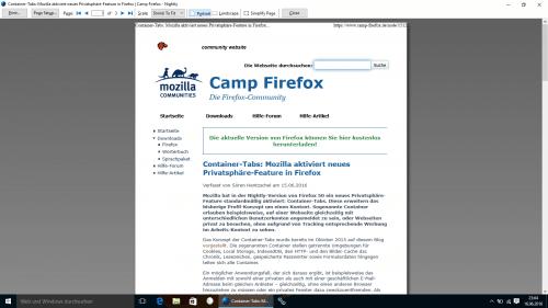 Firefox 49 Druckansicht Normal