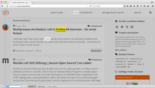 Firefox 50 Suchleiste