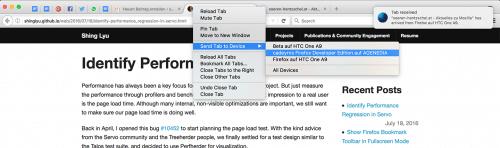 Firefox 50: Tab senden