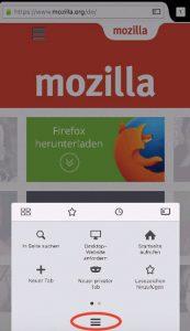 Firefox für iOS: Menü