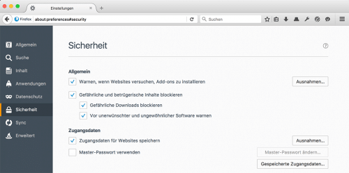 Firefox 48: SafeBrowsing-Einstellungen