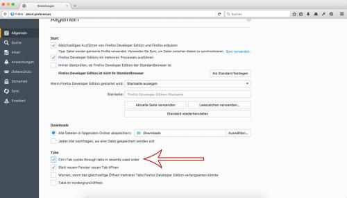 Firefox 50: Tab-Wechsel per Tastatur