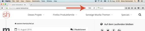 Firefox 51 Zoom-Indikator