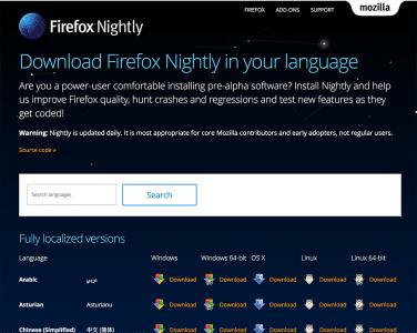 Firefox Nightly Downloadseite