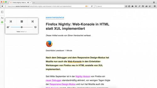 Firefox 52: Artikel vorlesen