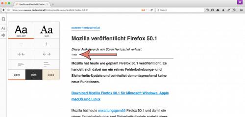 Lesedauer Firefox 53