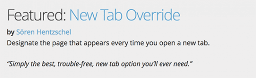 New Tab Override: Mozilla Featured Add-on Dezember 2016