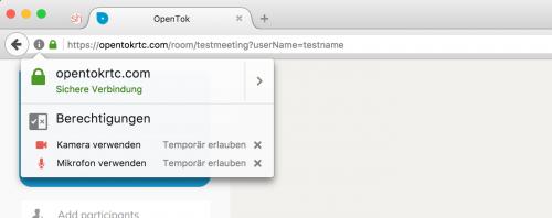 WebRTC-Berechtigungen Firefox 51