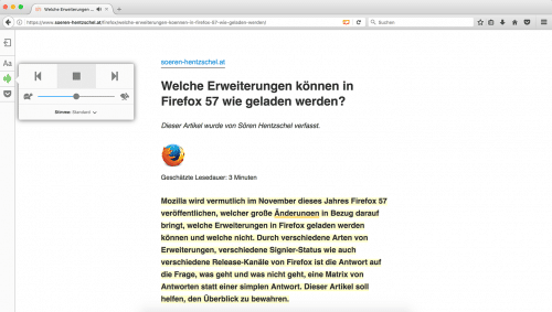 Artikel vorlesen, Firefox 52