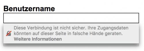Passwort-Feld auf HTTP-Seite, Firefox 52
