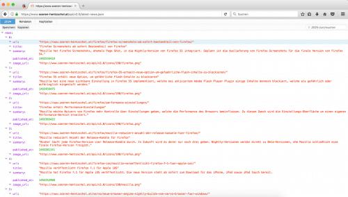 Firefox 53 JSON-Betrachter