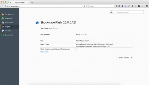 Gefährliche Flash-Inhalte blockieren, Firefox 55
