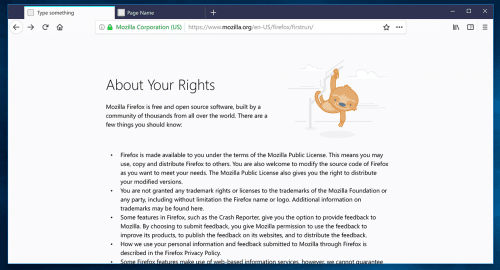 Photon Firefox 57 about:rights